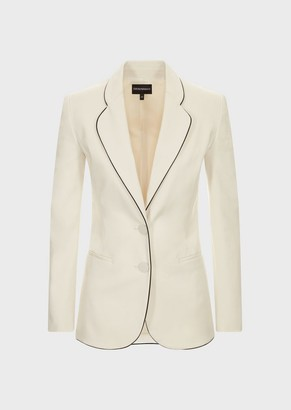 Emporio Armani Single-Breasted Jacket In Cotton Couture With Piping