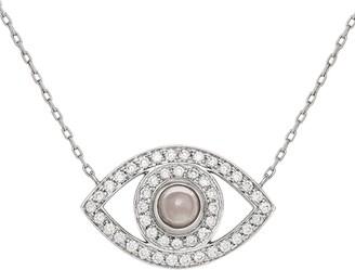 Netali Nissim White Gold and Diamond Eye Necklace