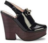 Carven Women's Zip Front Sling Back Platform Patent Leather Shoes Navy