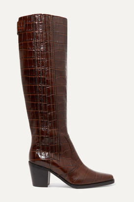 Ganni Western Croc-effect Leather Knee Boots - Brown