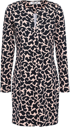 Diane von Furstenberg Leopard-print Silk And Cotton-blend Jersey Mini Dress