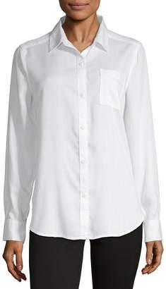Liz Claiborne Simply Womens Long Sleeve Classic Fit Button-Front Shirt