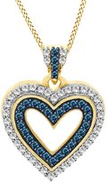 Jewel Zone US 3/4 Ct Blue & White Natural Diamond Heart Pendant Necklace In 14K Gold Over Sterling Silver