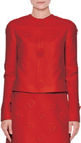 Valentino Long-Sleeve Daisy Couture Jacket, Red