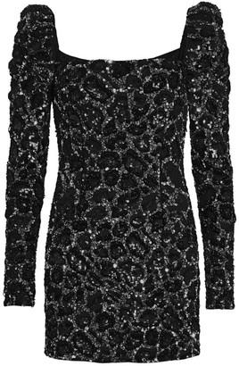 Amen Sequin Embroidered Squareneck Mini Dress