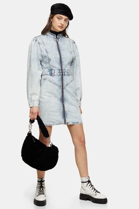 Topshop Womens Long Sleeve 80S Acid Denim Shirt Dress - Bleach Stone