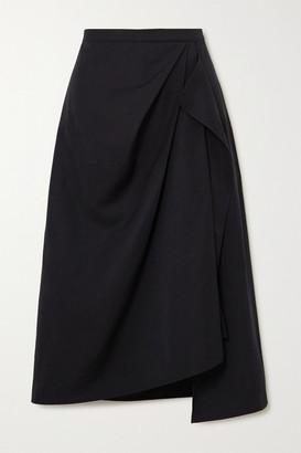 THE R COLLECTIVE Net Sustain Welland Asymmetric Draped Taffeta Midi Skirt - Black