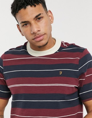 Farah Alfred striped T-shirt in raspberry