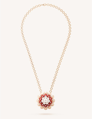 Van Cleef & Arpels Bouton dor gold, carnelian, mother-of-pearl and diamond pendant, Pink gold