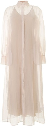 Mark Kenly Domino Tan Sheer-Design Longline Shirtdress