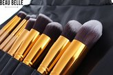 Beau Belle Makeup Brushes - 10pcs Kabuki Brush Set - Makeup Brush Set + Makeup Brush Case - Kabuki Brush Set - Professional Makeup Brushes