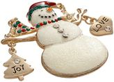 "Gold Tone Simulated Crystal ""Love"" Christmas Snowman Pin"