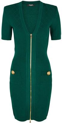 Balmain Dark Green Button-embellished Mini Dress