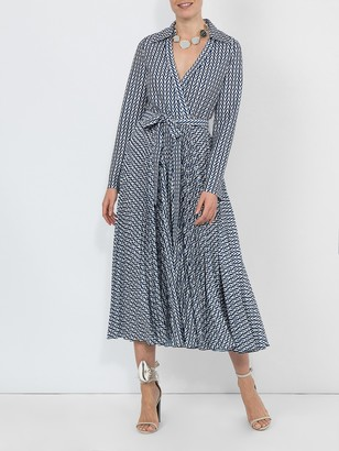 Valentino Printed Belted Dress Blue