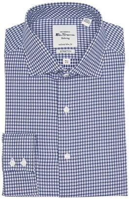 Ben Sherman Navy Dobby Gingham Slim Fit Dress Shirt