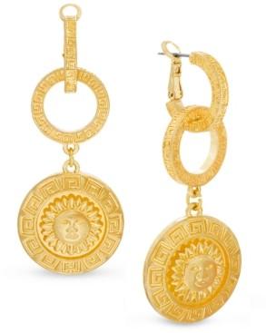 Steve Madden Gold-Tone Linked Hoop & Sun Disc Drop Earrings