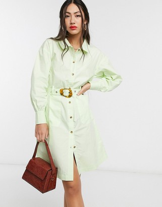 NATIVE YOUTH belted shirt dress with contrast buttons