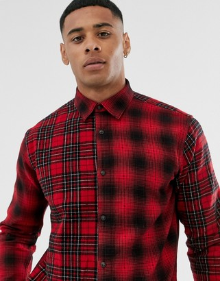 ONLY & SONS check shirt in mixed cut and sew check in regular fit-Red