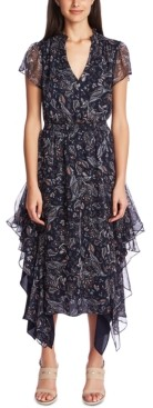 1 STATE Printed Flutter Dress