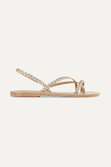 Ancient Greek Sandals Yianna Braided Metallic Leather Sandals - Gold