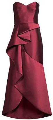 Lulu Cascading Ruffle Strapless Satin Gown