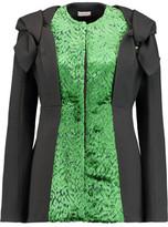 DELPOZO Devoré Velvet-Paneled Crepe Jacket