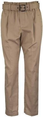 Brunello Cucinelli Slouchy Paper Bag Trousers In Comfort Cotton Twill With Shiny Belt Loop