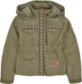 Pepe Jeans Cotton and linen twill coat with a zip hood