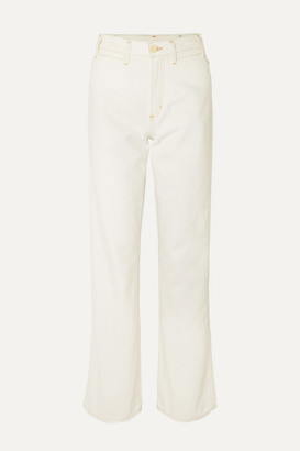Gold Sign High-rise Wide-leg Jeans - Cream