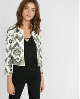 Express collarless geometric sequined jacket