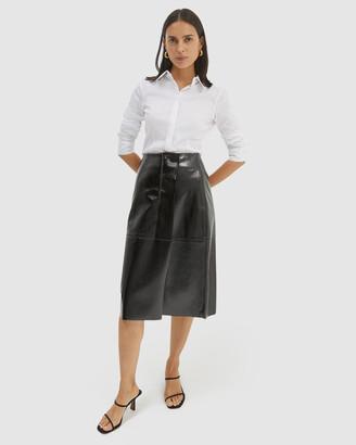SABA Women's Black Leather skirts - Alexa Leather Midi Skirt - Size One Size, 8 at The Iconic