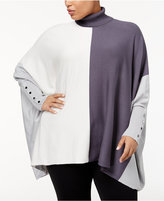 Alfani Plus Size Turtleneck Colorblocked Sweater, Created for Macy's