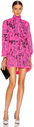 Balenciaga Pleated Babydoll Dress in Fluo Pink | FWRD