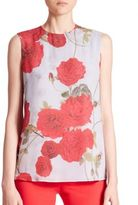 Giambattista Valli Sleeveless Floral-Print Silk Blouse