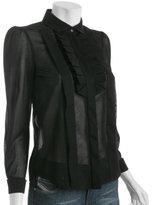 black voile ruffle trim blouse