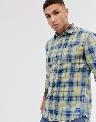 Jack and Jones Originals checked long sleeve shirt in yellow