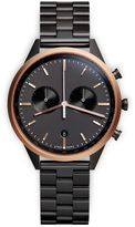 Uniform Wares C41 Men's chronograph watch in PVD rose gold with black nitrile rubber strap