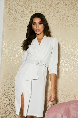 Paper Dolls Kensal White Frill Belted Bodycon Dress