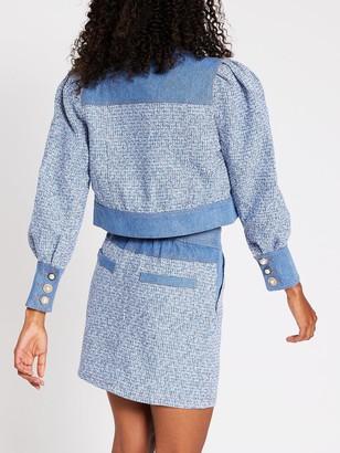 River Island Denim Boucle Mix Jacket - Blue