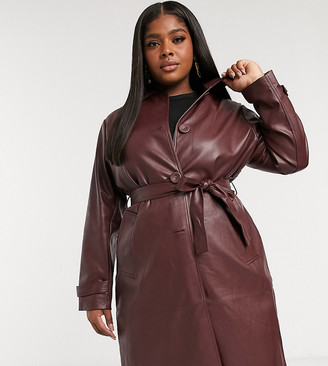 Fashion Union Plus coat with collar and belt in pu