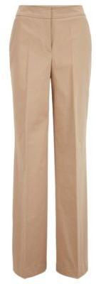 HUGO BOSS Relaxed Fit Pants In Washed Stretch Cotton - Beige