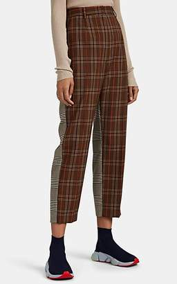 MM6 MAISON MARGIELA Women's Patchwork Plaid-Weave Crop Pants - Brown