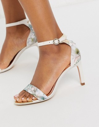Ted Baker woodland barely there heeled sandals in pale pink