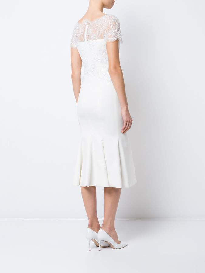 Marchesa lace neck fitted dress