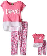 Dollie & Me Big Girls' Knit Mock Layered Tank with Tunic and Floral Legging