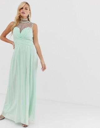 Little Mistress high neck lace detail sweatheart maxi dress