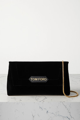 Tom Ford Label Leather-trimmed Velvet Shoulder Bag - Black