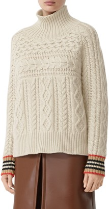 Burberry Oamaru Icon Stripe Cuff Cable Cashmere Sweater