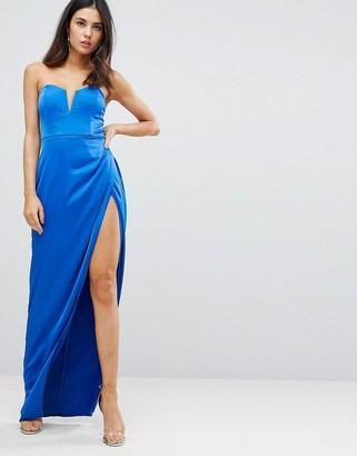 Asos Design Bandeau Maxi Dress with Deep Plunge-Blue