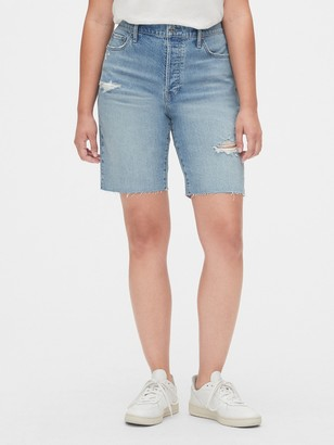 Gap High Rise Distressed Denim Bermuda Shorts